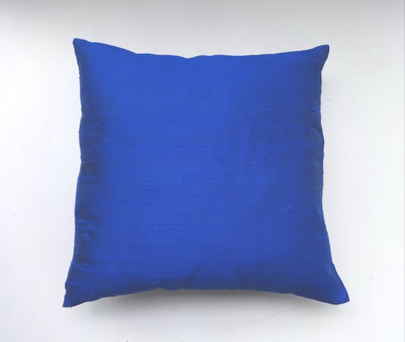 Royal Blue dupioni silk pillow cover 18 inch throw pillows