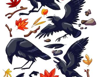 Clip Art Ravens - Digital Download Scrapbooking Images -