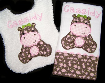 Personalized Handmade Baby Gift Set - Appliqued Bib and Burp Cloth - Hippo - White Chenille - Reversible