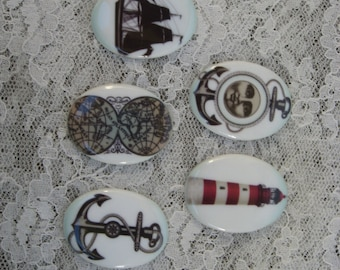Set of 5 Nautical Cabochons Lighthouse Anchor Map Nautical Cameos Fine Porcelain Cameos Set of 5 30x40mm Nautical Themed Cabochons