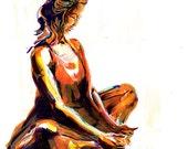 Yoga Art -- Acrylic Painting, Baddha Konasana Pose