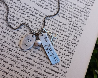 Runner Girl by MyBella Limited Edition Custom Hand Stamped Aluminum And Sterling Runner Necklace with Freshwater Pearl