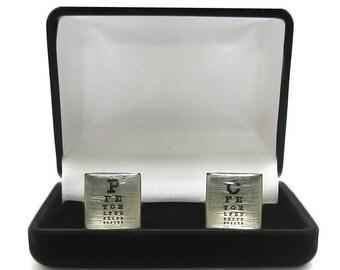 Black felt cuff links gift box