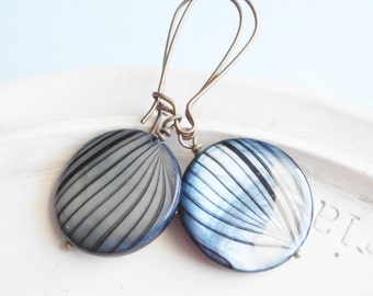 Teal Tiger Stripes - Shell Earrings