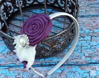 YOU PICK COLOR  headband , flower girl headband , photo prop , infant toddler headband - Wedding headband