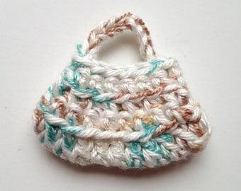 Handmade Barbie Clothes Purse Handbag Crochet Variegated (Q1924)