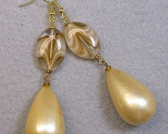 Vintage Japanese Pearl Bead Dangle Drop Teardrop Earrings, Vintage German Givre Amber Striped Glass Bead