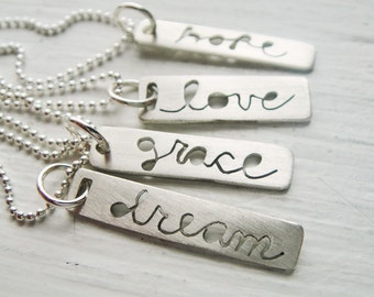 Message to You Inspirational Bar Cutout Necklace -Assorted
