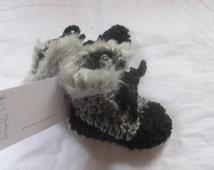 Stylish  Black & Grey Baby Uggs Hi Top  Faux Fur Trimmed Booties
