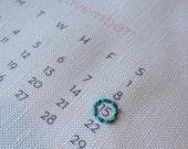 Custom Hand Embroidered Date, 2016 Hanging Wall Calendar, Wedding Keepsake, Linen Anniversary, Bridal Shower Gift, Gifts Under 50, Birthday