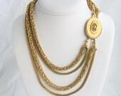 Multistrand Gold Mesh Chain Necklace Vintage Goldtone Bib 5 Strand Multichain Fancy Clasp