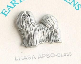 Lhasa Apso Pin Vintage Dog Figural Pewter Tie Tac Pin Brooch