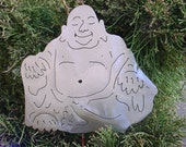 Hoti Buddha Buddhism Buddhist Zen Meditation Metal Yard Art Garden Stake Chinese Asian Feng Shui Plant Spike Lawn Decor Outdoor Ornament