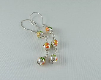 Painted Shell Pearl Sterling Silver Dangle Earrings