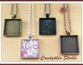 10pc..DIY Square Pendant Tray Necklace Kit..25mm...includes chains, glass Inserts,  trays..Mix and Match color trays.