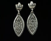 Edwardian Style Historical Reproduction Earrings, Sterling Silver dangle earrings