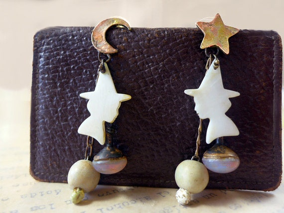Little Enchantments. Pale light halloween witch dangle earrings with star moon opals art beads mop silhouette.