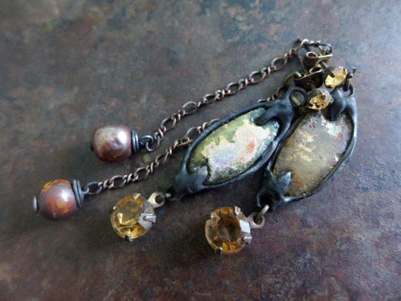 Earthenware. Rustic Bling  assemblage earrings with Roman glass, rhinestones.