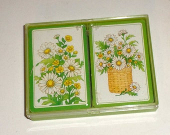 Vintage Hallmark Playing Cards - Daisy Design - 2 Full Decks in Plastic Case - Daisy Playing Cards - Ladies Cards - Deck Of Cards