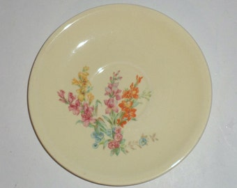 Vintage Saucer - Paden City Pottery - Pale Yellow - Orange, Pink, Yellow, Blue Flowers - Small Saucer - Paden City Saucer - Small Plate