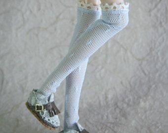 jiajiadoll light blue lace dots stocking leg warmers fit momoko or blythe