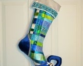 Woven Ribbon Christmas Stocking with Curly Elf Toe in Blues, Greens and White