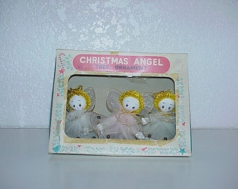 Vintage--Boxed Set--Christmas ANGELS--Tree Ornaments--Made In Japan--So Cute