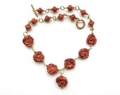 The Name of the Rose -- Earthy Sponge Coral Vermeil Wirewrapped Choker
