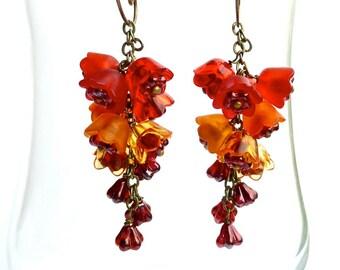 Sangria -- Fiery Red Orange  Flower Dangling Earrings