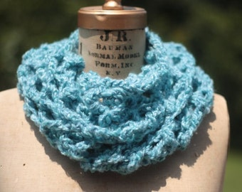 Circle scarf Infinity scarf crochet lacy soft blue