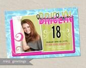 Teen Neon bright birthday party invitation - sweet 16 pool party invite - digital printable file