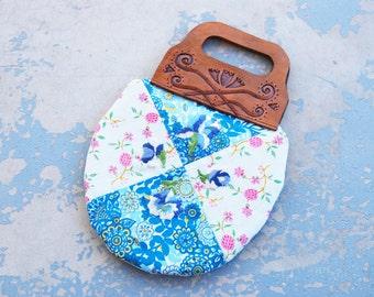 Boho Patchwork Quilt Floral Purse - Folk Tooled Leather Handbag #3