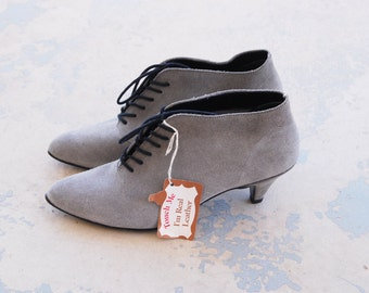 vintage 80s Ankle Boots - 1980s Deadstock Leather Boots - Gray Suede Ankle Booties Sz 9 40