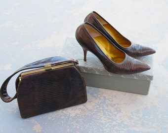 vintage 50s Purse and High Heels - Brown Snake Skin Leather Stilettos 1950s Shoes and Handbag Sz 6.5 37