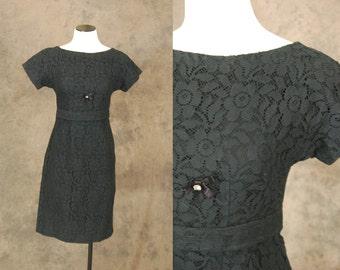 CLEARANCE vintage 50s Dress - 1950s Black Lace Wiggle Dress Sz S