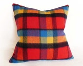 Wool Holiday Pillow Covers, Christmas Plaid Pillows, Wool Plaid Throw Pillows, Plaid Cushion, Red Blue Orange, Holiday Home Decor, 20x20