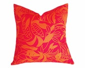 Pink Orange Pillows, 18x18, Vibrant Spring Decor, Colorful Throw Pillow, Floral, Flowers, Girls Decorative Cushion Covers