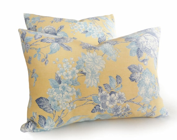 Romantic, Yellow Blue Floral Pillows, 14x20 Lumbar, RESERVED FOR JC, Eclectic, Shabby Chic,  Soft Yellow, Light Dark Blues, Cushion Cover