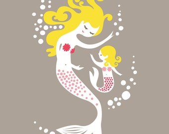 "8X10"" mermaid mother & daughter. giclee print on fine art paper. gray, pink, blonde."