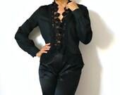 French Vintage Romantic Black Lace Blouse