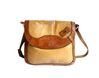 AGATHE French Vintage 70s Bicolors Leather Satchel / Shoulderbag