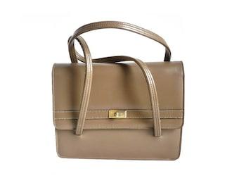 MIREILLE French Vintage 50s Dark Beige Handbag
