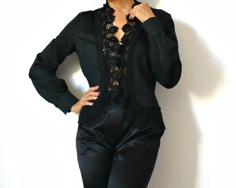 French Vintage Romantic Black Lace Blouse