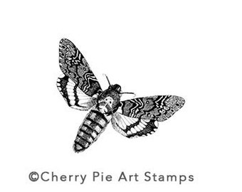 MOTH - CLiNG Rubber STAMP for acrylic block by Cherry Pie Art Stamps