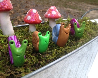 Surprise Polymer Clay Garden Snail Plant Stake