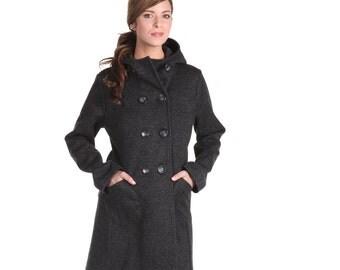 Hooded ladies Waterproof & wind proof car coat, in charcoal melange knit bonded with neoprene