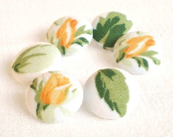 Fabric Buttons, Yellow Rosebuds, 6 Small Flowers Green Leaves White Fabric Covered Buttons, Yellow Tulips Buttons, Handmade Fabric Button