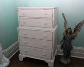 Vintage Dresser Shabby Chic white distressed Petite Country Cottage Coastal Prairie