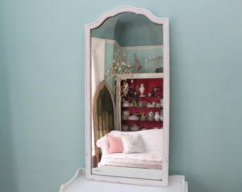Shabby Chic Full Length MIrror White Distressed Antique Country Cottage Prairie