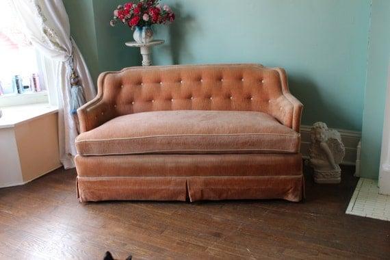Vintage Henredon Fine Furniture Velvet Sofa Couch Tufted